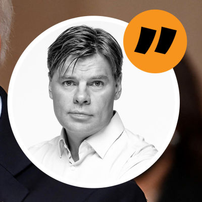 Kommentators bild med en närbild av en bekymrad Joe Biden i bakgrunden.