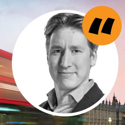 Bild på Rikhard Husu, lagd ovanpå en londonbuss och Big Ben.
