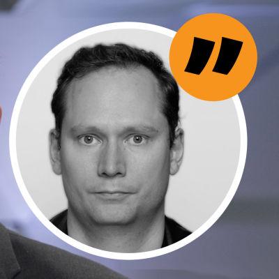 Kommentatorns bild mot bakgrund av en leende Paavo Väyrynen.