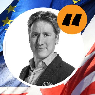 Porträtt av Rikhard Husu mot en bakgrund av Storbritannien flagga, EU:s flagga och parlamentsbyggnaden i London till vänster på bilden.