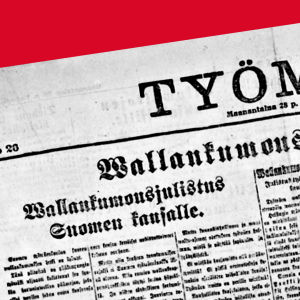 """Työmies-lehden etusivu 28.1.1918: """"Vallankumousjulistus Suomen kansalle."""""""