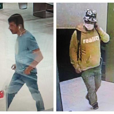 Bild från övervakningskamera på tre män.