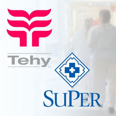 Grafik med Tehys och Supers logotyper framför sjukhusmiljö.