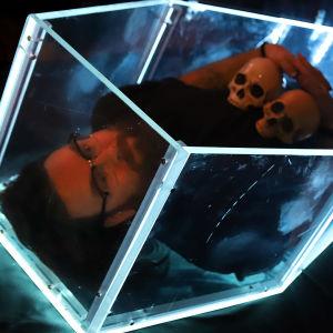 Taiteilija Ilmari Wärri makaa pleksilasisessa ruumisarkussa.