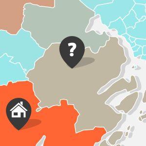 En karta över områden med olika färger.