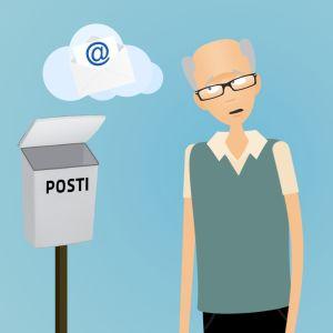 Mies tyhjän postilaatikon ääressä, grafiikka.