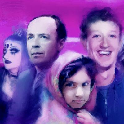 Kuvakollaasi: Viisi muotokuvaa. Yksi henkilöistä on Jussi Halla-aho. Toinen tunnistettava henkilö on Mark Zuckerberg.
