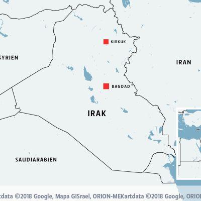 En karta över Irak med Bagdad och Krikuk markerat.