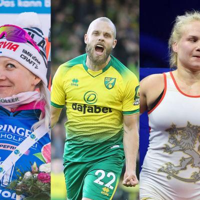 Kaisa Mäkäräinen, Teemu Pukki, Petra Olli och Valtteri Bottas.