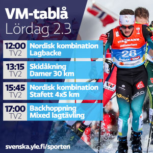 VM-tablå lördag 2.3.