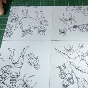 Ihopfogad teckning i fyra delar.