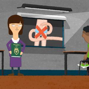 En bild ur animationsserien Min kropp är min, där en lärare berättar att vuxna inte får röra barns könsorgan