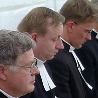 """Lestadiolaisten suviseurojen pappisrivistöä dokumentista """"Ainoa oikea Jumala"""""""