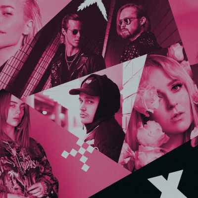 Kollaasikuva, jossa on Vesala, Billie EIlish, Gettomasa, Stereo, Ellinoora, Post Malone ja Pyhimys. Kuva on YleX:n väreissä, pinkkiä, mustaa ja valkoista.