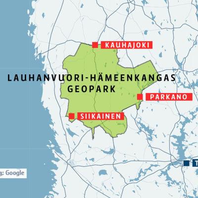 Lauhanvuori-Hämeenkangas geopark, kartta