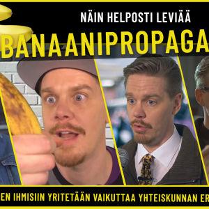 Kuvassa on viisi eri yhteiskunnan henkillöä, jotka ovat kohdanneet banaanipropagandaa.