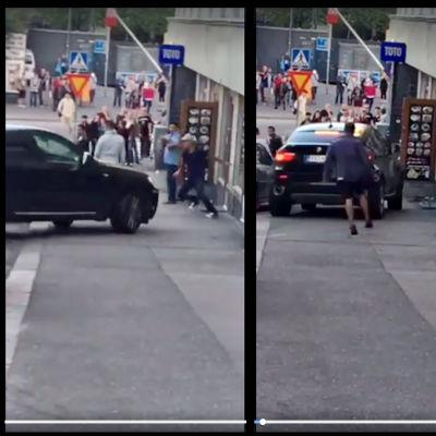 En man körde med bil in i en folksamling på en trottoar i Berghäll i Helsingfors den 10 augusti 2017.
