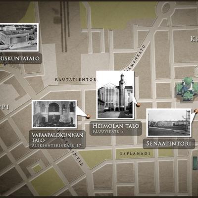 Valtiopäivärakennukset kartalla.