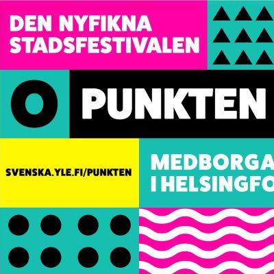 På bilden logon för stadsfestivalen Punkten. Punkten skriven i vitt på svart botten.