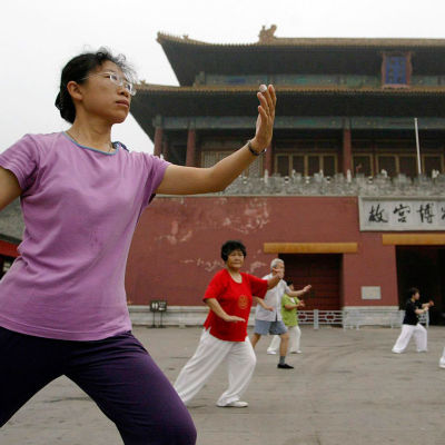 Kiinalaista aamuvoimistelua Kielletyn kaupungin edustalla