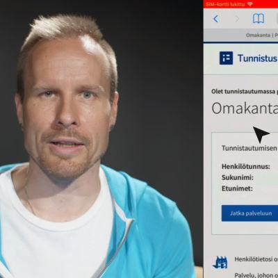 Mikko Kekäläinen neuvoo, miten tunnistaudutaan Omakanta-palveluun verkkopankkitunnuksilla. Kuvan laidassa kuvakaappaus Omakanta-sivusta.