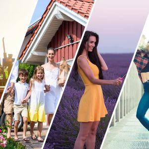 Kollage med landebo, förortsbo, landeromantiker och stadsbo.