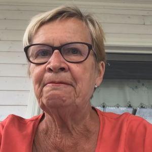 Ulla-Maj Wideroos sett från en webbkamera framför en stuga.