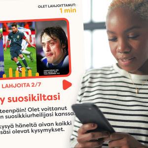 Nainen katsoo puhelinta. Kuvan taustalla näkyy Lahjoita puhetta -sivua ja siellä olevaa urheiluaiheista tehtävää.