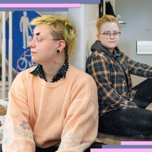 Muokattu kuva kahdesta henkilästä istumassa.