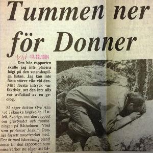 """""""Tummen ner för Donner"""", urklipp ur VBL"""