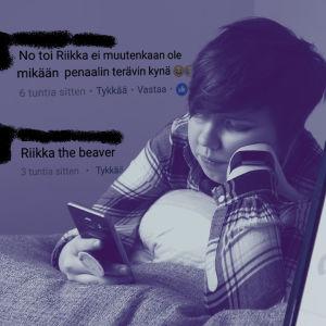 Nuori nainen katselee kännykkää ja vieressä on kuvakaappauksia teksteillä: Me ei lopeteta ennen ku sä tapat ittes. Hyppää vaik sillalta ja Ei oo toi Riikka mikään penaalin terävin kynä.