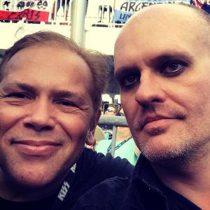 Lasse Grönroos med Claudio Maradona som arrangerar rock in Rio. Ombord på Kiss Kruise VIII 2018.