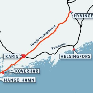 En karta över Hangö-Hyvingebanan.