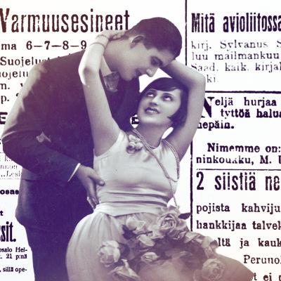 Rakastunut pari ja vanhoja lehti-ilmoituksia