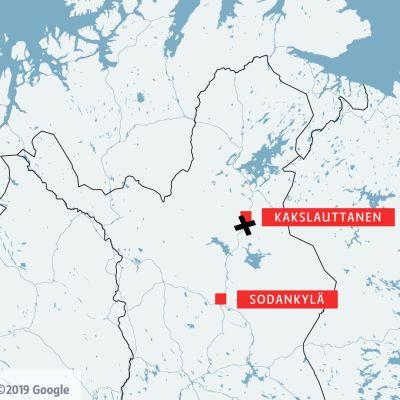Karta över norra Finland.