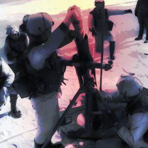 Armeijan lumipukuihin pukeutuneet alokkaat lataavat kranaatinheitintä