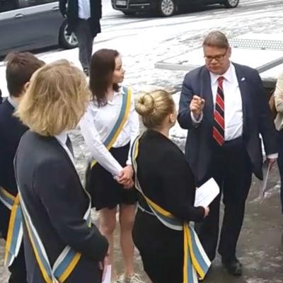 Timo Soini i Virkby gymnasium