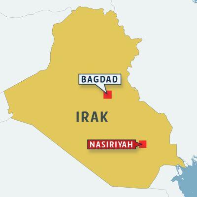Karta över Irak där Nasiriyah (röd markering) och Bagdad är markerade.