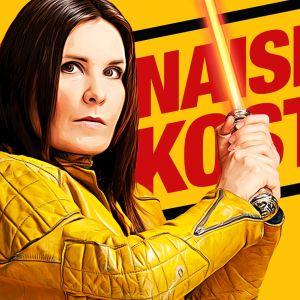 Keltaisessa kuvassa lukee punaisella Naisen kosto, etualalla Pirjo Heikkilän hahmo Saila valomiekan kanssa.
