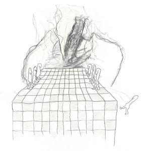 Anna-Sofia Nylunds illustration till essä av Antony Fredriksson.