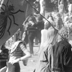 Nuori pariskunta kantaa kärpäsen kuvalla varustettua lippua Ruisrockissa 1970.
