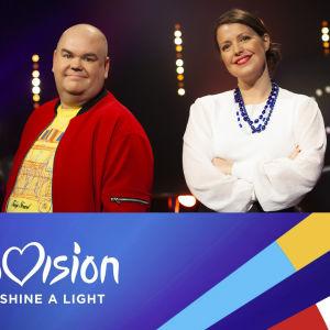 Johan Lindroos och Eva Frantz samt logon för tv-programmet Europe shine a light.