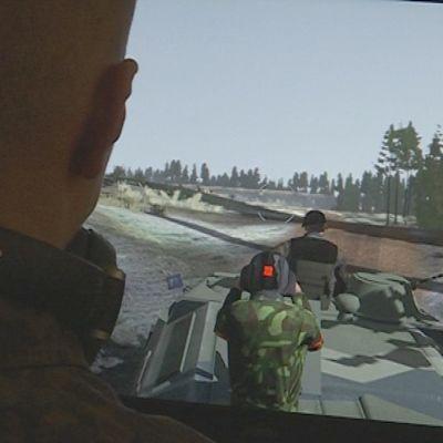Simulatorspel där en pansarvagn kör omkring.