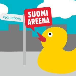 Anka på väg till Suomiareena.