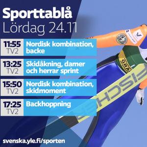 Sporttablå, lördag 24.11