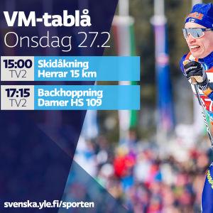 VM-tablå onsdag 27.2