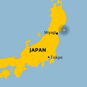 Karta på jordbävningen i Japan