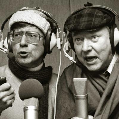 Kuvassa Jarno Hiilloskorpi ja Kauko Helovirta roolihahmoissa. kuunnelmat, radioteatterit