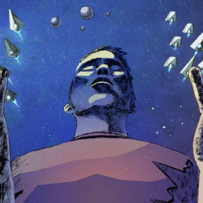 Kuvituskuvassa henkilö seisoo avaruuslaivojen komentajana.