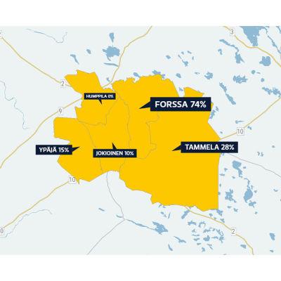 Kartta, jossa näkyy, kuinka monta prosenttia lounaishämäläisistä ehdokkaista kannattaa kuntaliitosta.